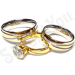 Inele De Logodna - Set 2 verighete si inel logodna inox - BR703