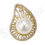 Bijuterii in Culoarea Aur 14K - Pandantiv cu perla si zirconii albe - ZS136