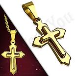 Pandantive crucifix - Pandantiv inox cruce  dublata - LR472