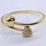 Bijuterii Inox - Bratara in culoarea aurului cu inimi - ZS404