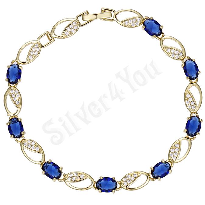 Bratara cu zirconii albastre si albe - ZS132A