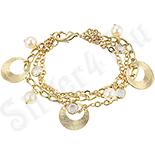 Bijuterii Inox - Bratara cu perle si cercuri gravate - ZS334