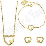 Bijuterii Inox - Set Cercei + Colier + Bratara cu inimi si zirconii albe - ZS730
