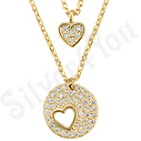 Bijuterii Inox - Set colier inima cu zirconii albe - ZS738