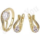 Bijuterii Inox - Set Cercei si inel cu zirconii albe - ZS735