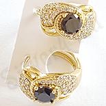 Bijuterii in Culoarea Aur 14K - Cercei cu zirconii albe si negre - ZS775