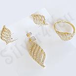 Bijuterii in Culoarea Aur 14K - Set Cercei +Pandantiv + Inel cu zirconii albe - ZS866