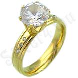 Cadouri Femei 1-8 Martie - Inel inox aurit zirconii albe - BR635