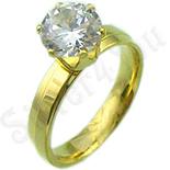 Cadouri Femei 1-8 Martie - Inel inox aurit zirconii albe - BR636