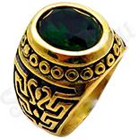 Ghiul inox aurit cu piatra verde - BR643