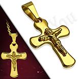 Pandantive crucifix - Pandantiv inox aurit - BV133
