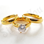 Set verighete si inel inox aurit zircon - BR6314A