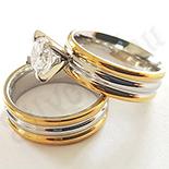 Cadouri Femei 1-8 Martie - Set verigheta si inel inox aurit zirconii albe - DN209