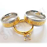 Cadouri Femei 1-8 Martie - Set verighete si inel inox aurit zirconii albe - BN155A