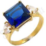 Inel inox aurit zirconii albastre - BR646