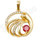 PANDANTIVE - Pandantiv in culoarea aurului 14K zirconii rosii - ZS600