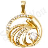Pandantiv in culoarea aurului 14K zirconii albe - ZS601