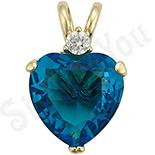 Pandantiv in culoarea aurului 14K zirconii albastre - ZS602