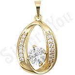 Pandantiv in culoarea aurului 14K zirconii albe - ZS606