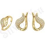Set inel si cercei in culoarea aurului 14K - ZS612