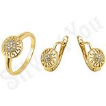 Set inel si cercei in culoarea aurului 14K zirconii albe - ZS613