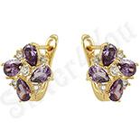 Cercei in culoarea aurului 14K zirconii violet - ZS623