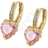 Cercei in culoarea aurului 14K zirconii roz - ZS630