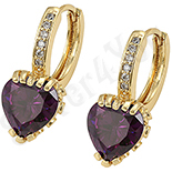 Bijuterii Inox - Cercei in culoarea aurului 14K 14 K zirconii violet - ZS632