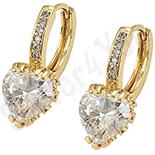 Bijuterii Inox - Cercei in culoarea aurului 14K zirconii albe - ZS633