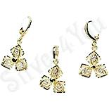 Bijuterii Inox - Set cercei si pandantiv in culoarea aurului 14K zirconii albe - ZS759