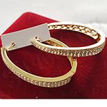 Bijuterii Inox - Cercei in culoarea aurului 14K zirconii albe - ZS856