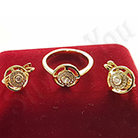 Bijuterii Inox - Set inel si cercei in culoarea aurului 14K zirconii albe - ZS880
