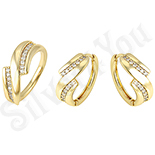 Set inel si cercei in culoarea aurului 14K zirconii albe - ZS881