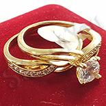 Set 2 inele in culoarea aurului 14K zirconii albe - ZS871