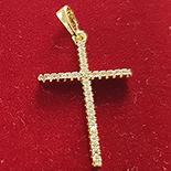Bijuterii Inox - Cruce in culoarea aurului 14K zirconii albe - ZS636