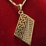Lant si pandantiv in culoarea aurului 14K zirconii albe - ZS862A