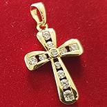 Cruce in culoarea aurului 14K zirconii albe - ZS870