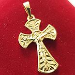 Cruce in culoarea aurului 14K zirconii albe - ZS874