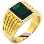 CADOURI BARBATI - Ghiul inox aurit si piatra verde - BN112
