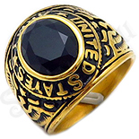 Ghiul inox aurit cu zircon negru - BN114
