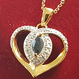 Cadouri de Craciun - Colier + pandantiv argint aurit zirconii albe si safir negru - AG238