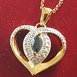 LANTURI - Colier + pandantiv argint aurit zirconii albe si safir negru - AG238