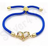 Bijuterii in Culoarea Aur 14K - Bratara cu siret si inimioara si pietricele - BN141