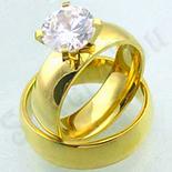INELE - Set verigheta si inel inox aurit zirconii albe - BN152