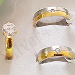 INELE - Set verighete si inel inox aurit zirconii albe - BN302