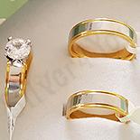 Set verighete si inel inox aurit zirconii - BR6035A