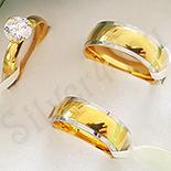 Cadouri de Craciun - Set verighete si inel inox aurit zirconii albe - BR704A