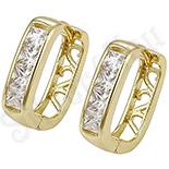 Cercei in culoarea aurului 14K zirconii albe - ZS160