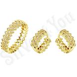Set inel si cercei in culoarea aurului 14K zirconii albe - ZS167