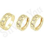 Bijuterii Inox - Set inel si cercei aurit cu aur de 14K si zirconii - ZS171